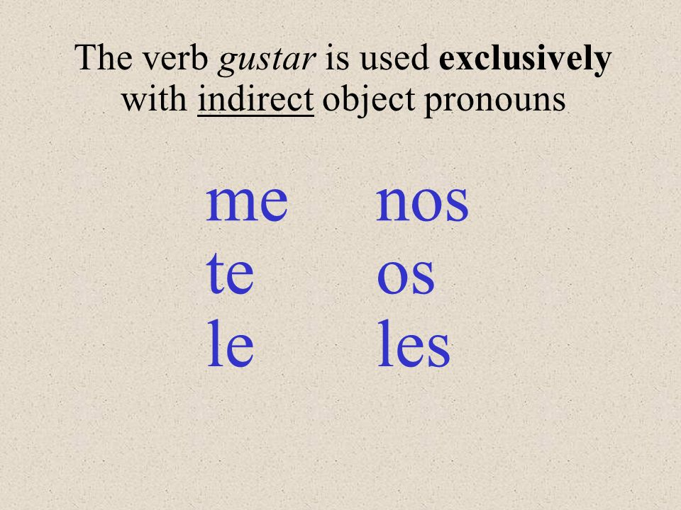 The verb gustar is used exclusively with indirect object pronouns