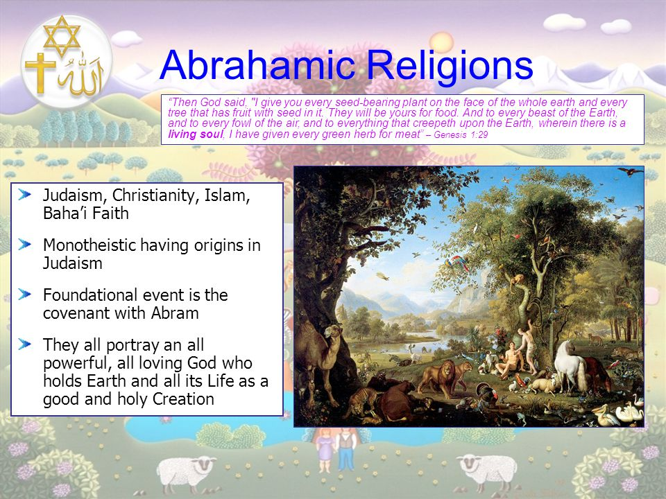 Abrahamic Religions Judaism, Christianity, Islam, Baha'i Faith