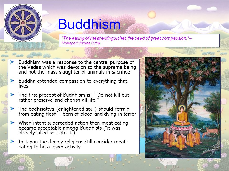 Buddhism The eating of meat extinguishes the seed of great compassion. – Mahaparinirvana Sutra.