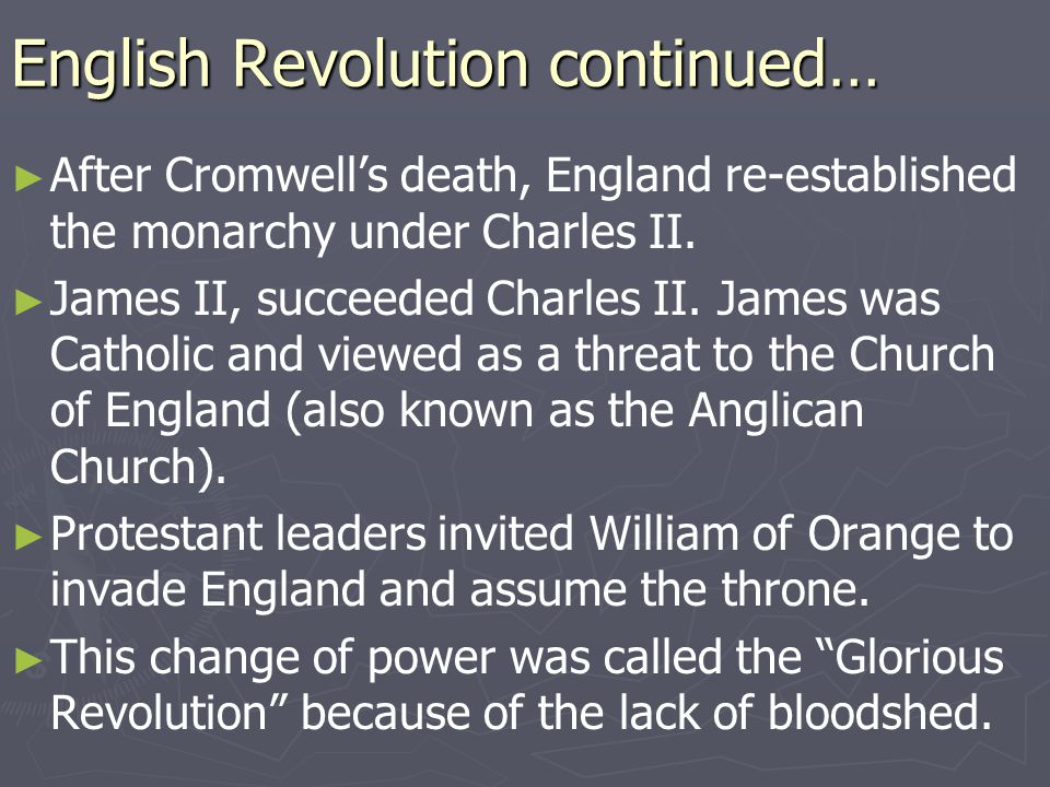 English Revolution continued…