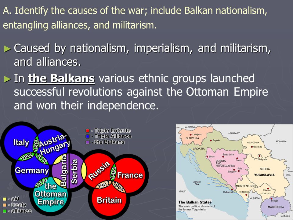 Caused by nationalism, imperialism, and militarism, and alliances.