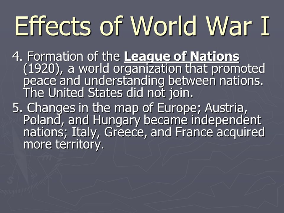 Effects of World War I