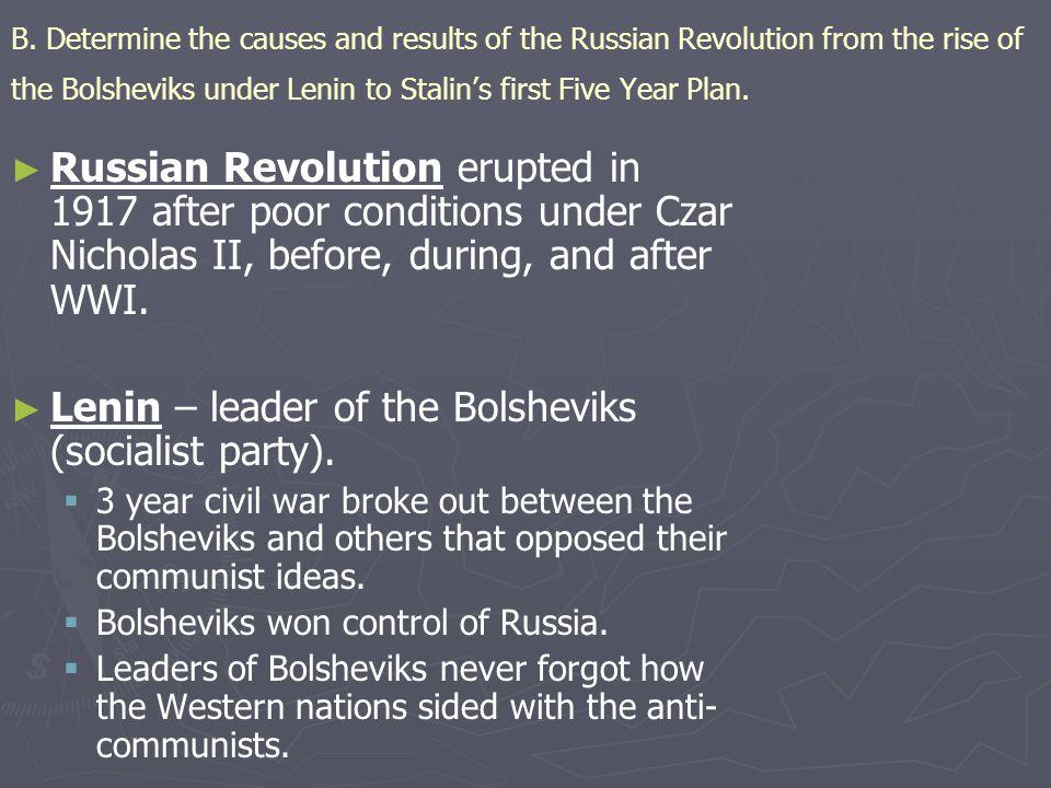 Lenin – leader of the Bolsheviks (socialist party).