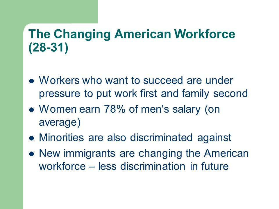 The Changing American Workforce (28-31)