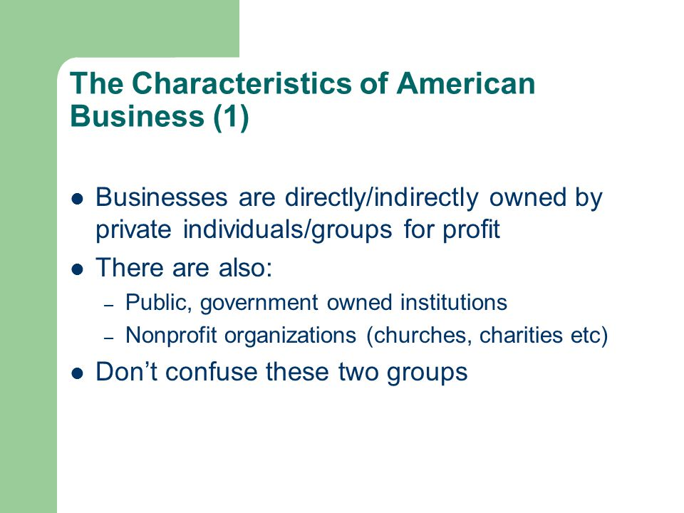 The Characteristics of American Business (1)