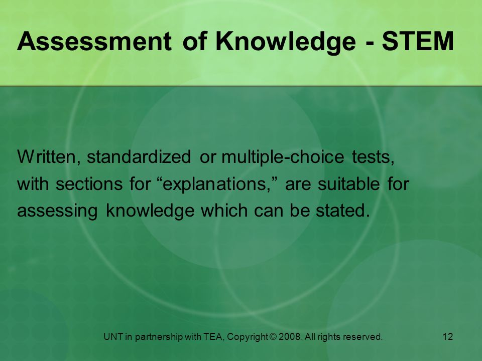 Assessment of Knowledge - STEM