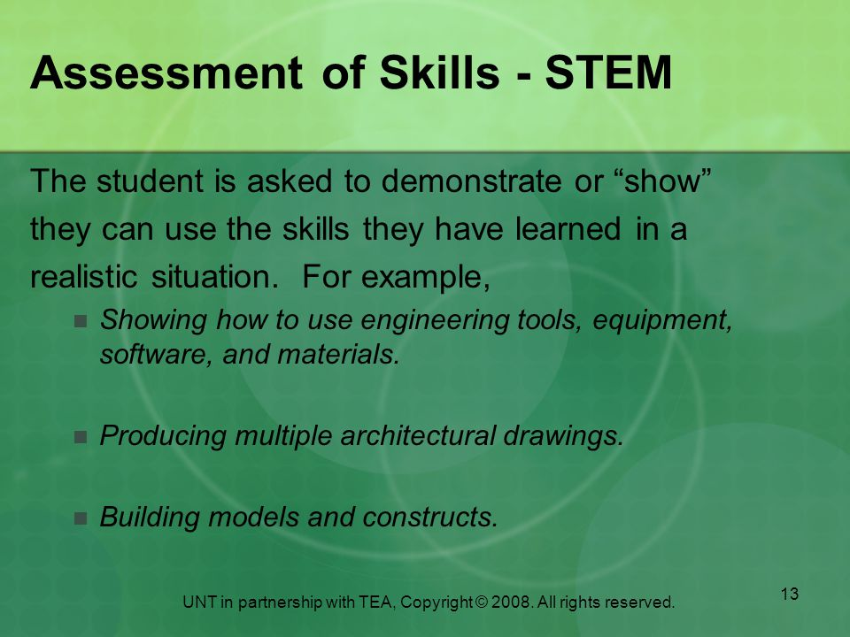 Assessment of Skills - STEM