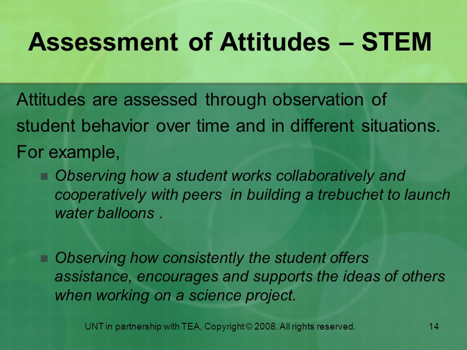 Assessment of Attitudes – STEM
