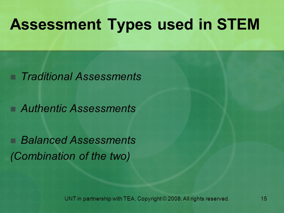 Assessment Types used in STEM