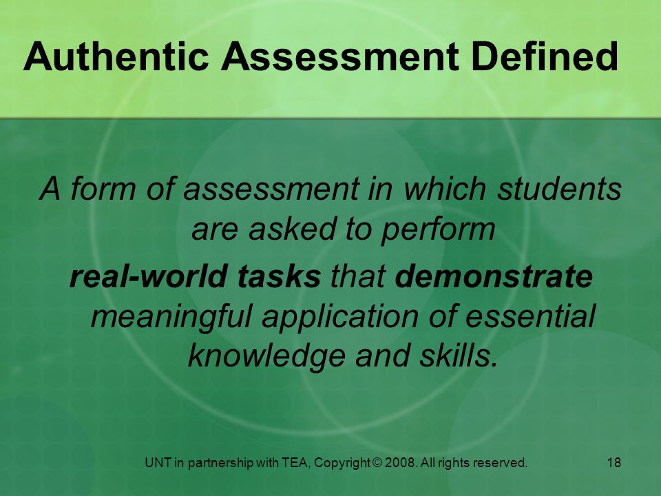Authentic Assessment Defined