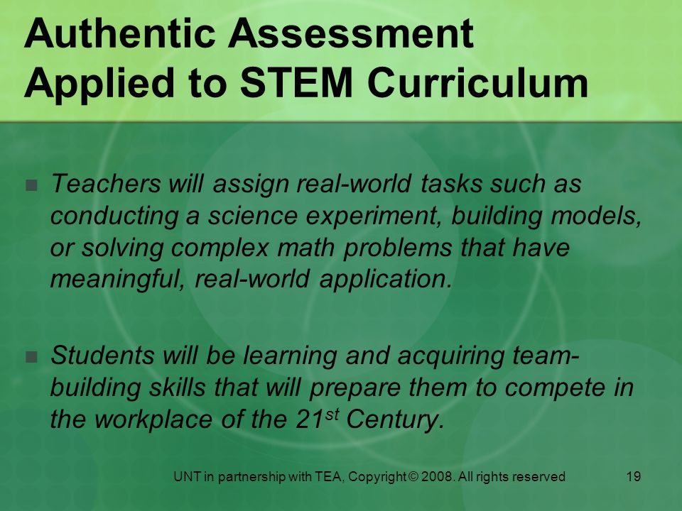 Authentic Assessment Applied to STEM Curriculum
