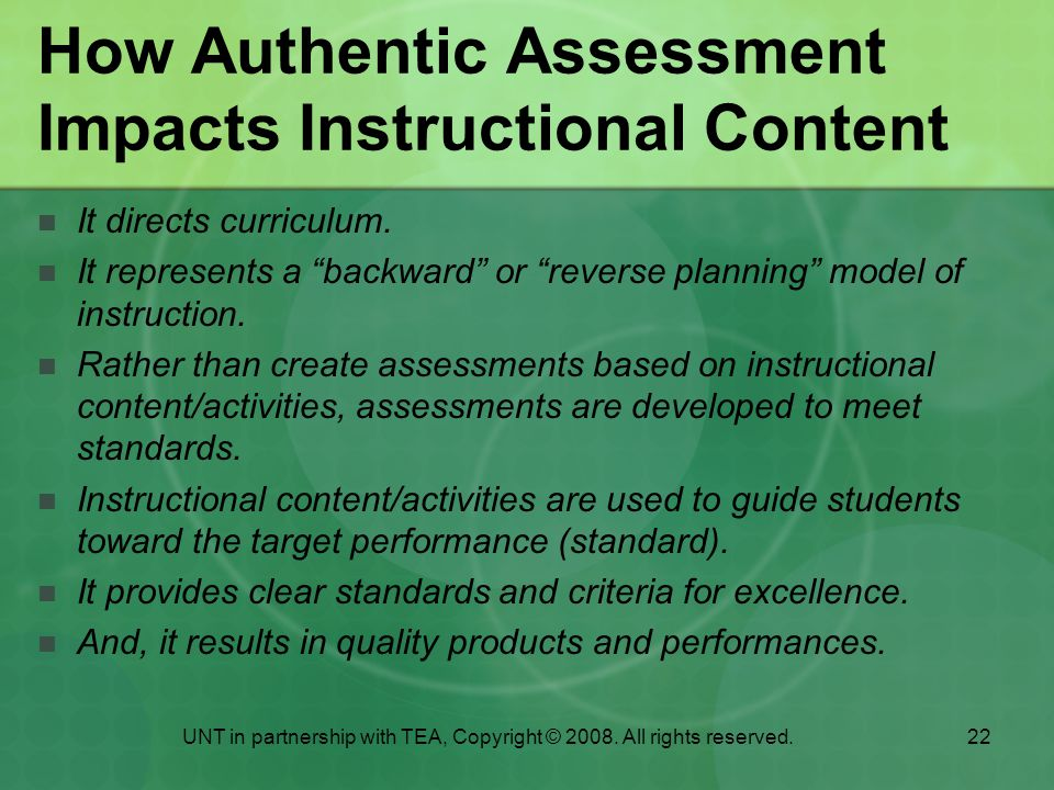 How Authentic Assessment Impacts Instructional Content