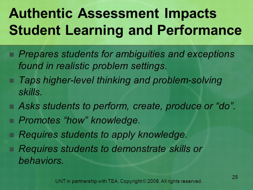 Authentic Assessment Impacts Student Learning and Performance