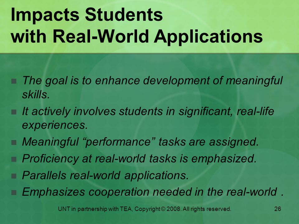 Impacts Students with Real-World Applications