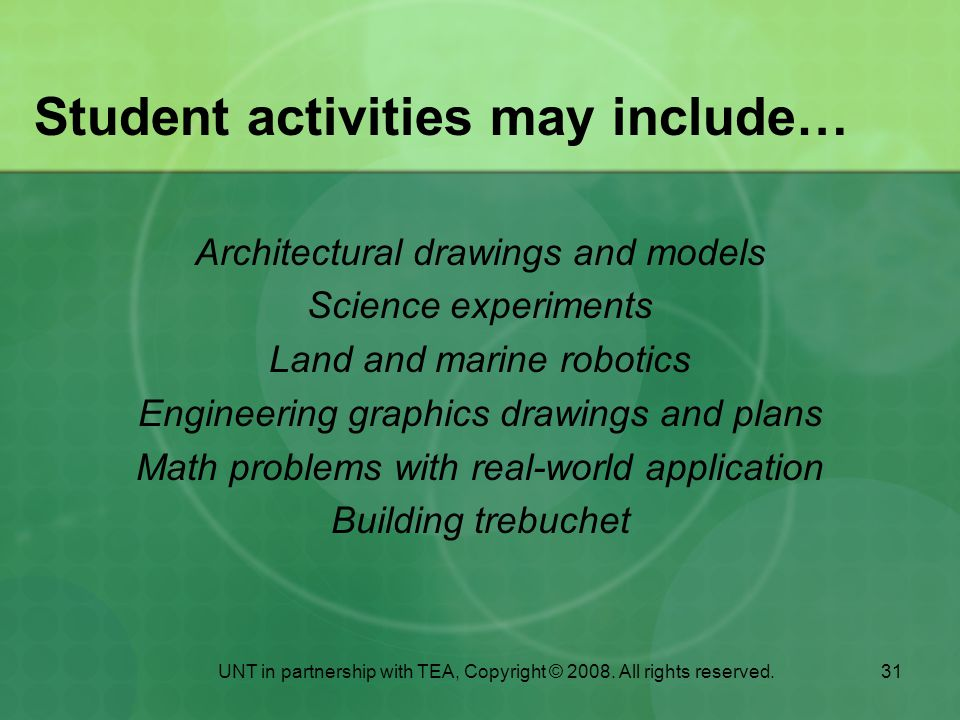 Student activities may include…