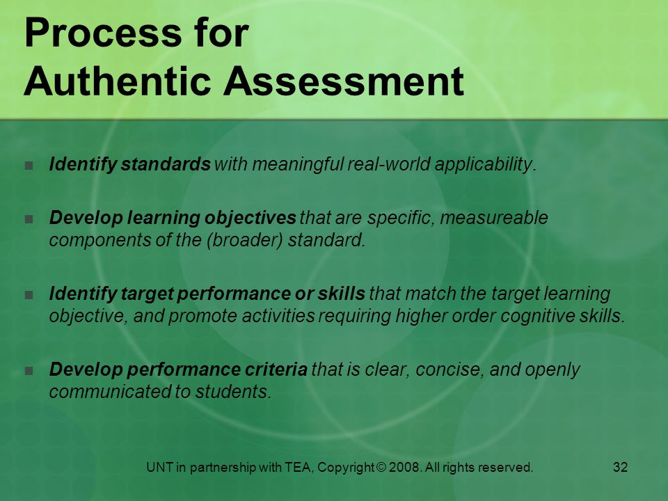 Process for Authentic Assessment