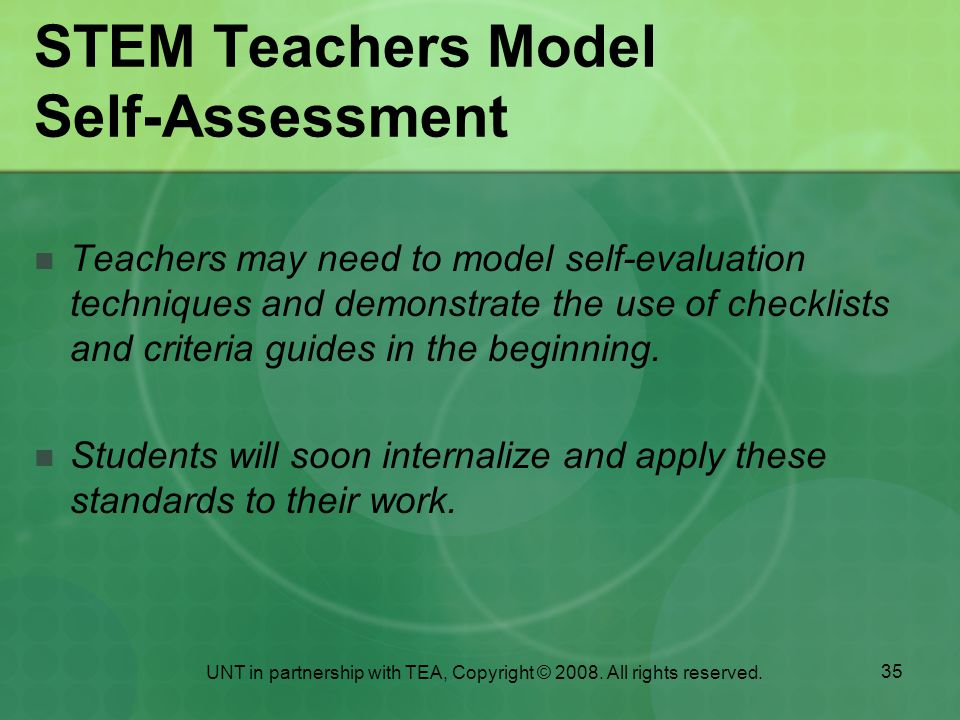 STEM Teachers Model Self-Assessment