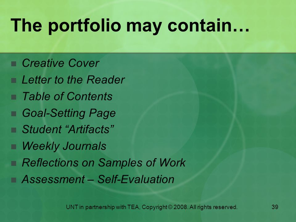 The portfolio may contain…