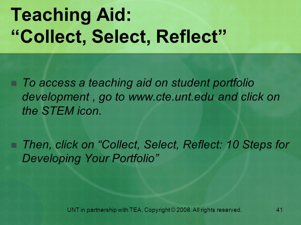 Teaching Aid: Collect, Select, Reflect