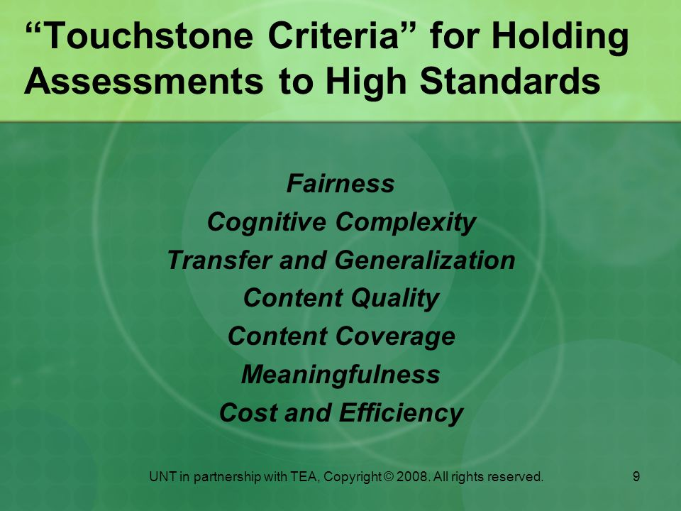 Touchstone Criteria for Holding Assessments to High Standards