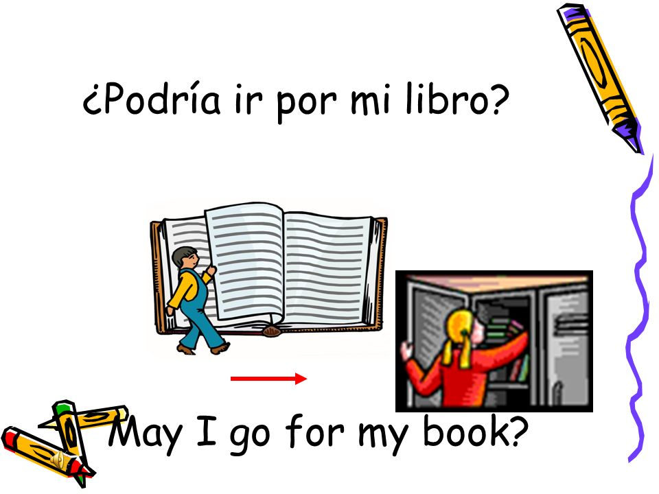 ¿Podría ir por mi libro May I go for my book