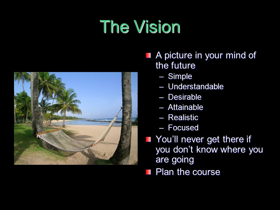 The Vision A picture in your mind of the future