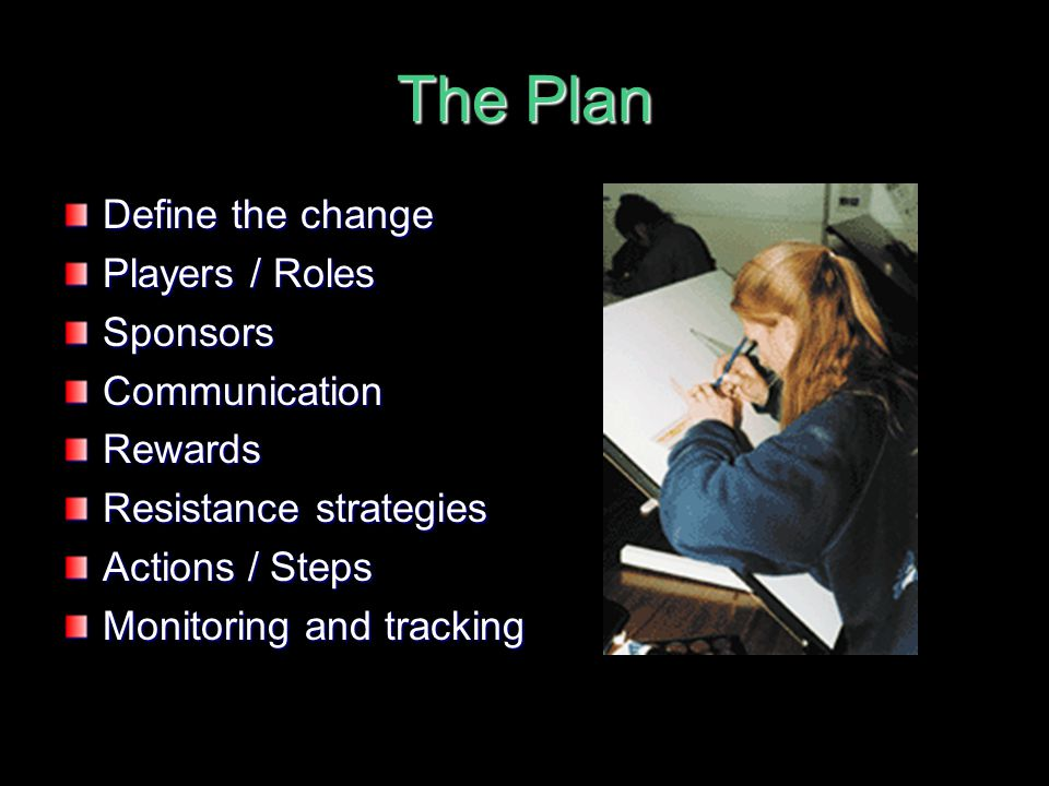The Plan Define the change Players / Roles Sponsors Communication