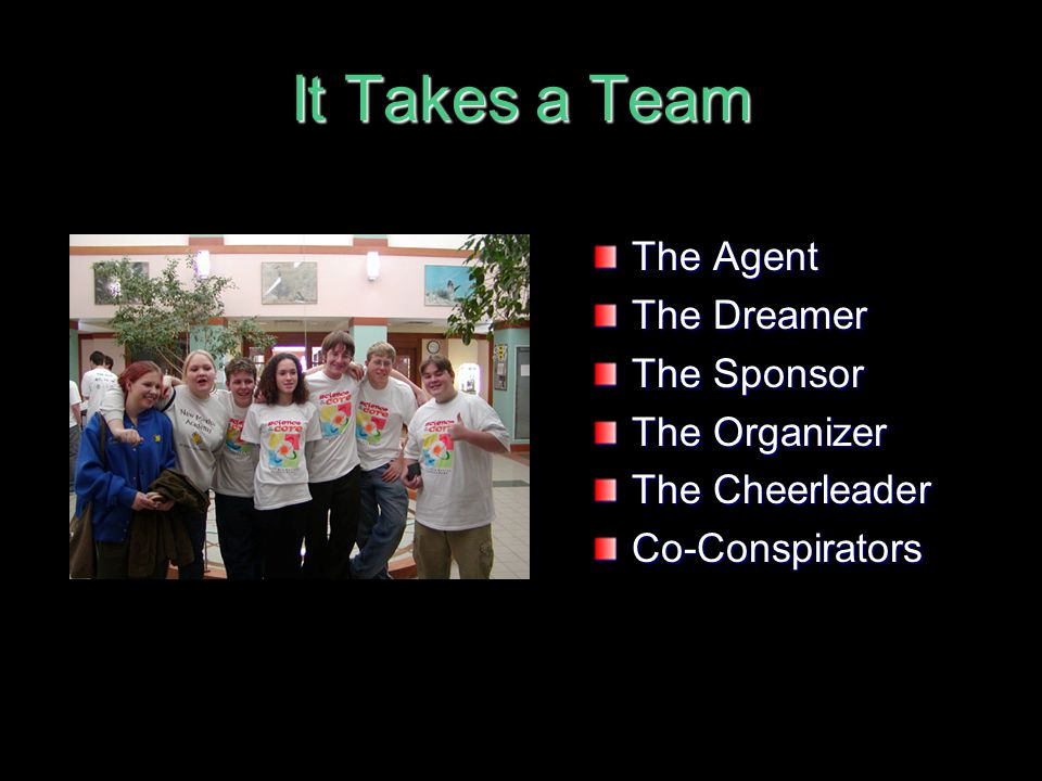 It Takes a Team The Agent The Dreamer The Sponsor The Organizer
