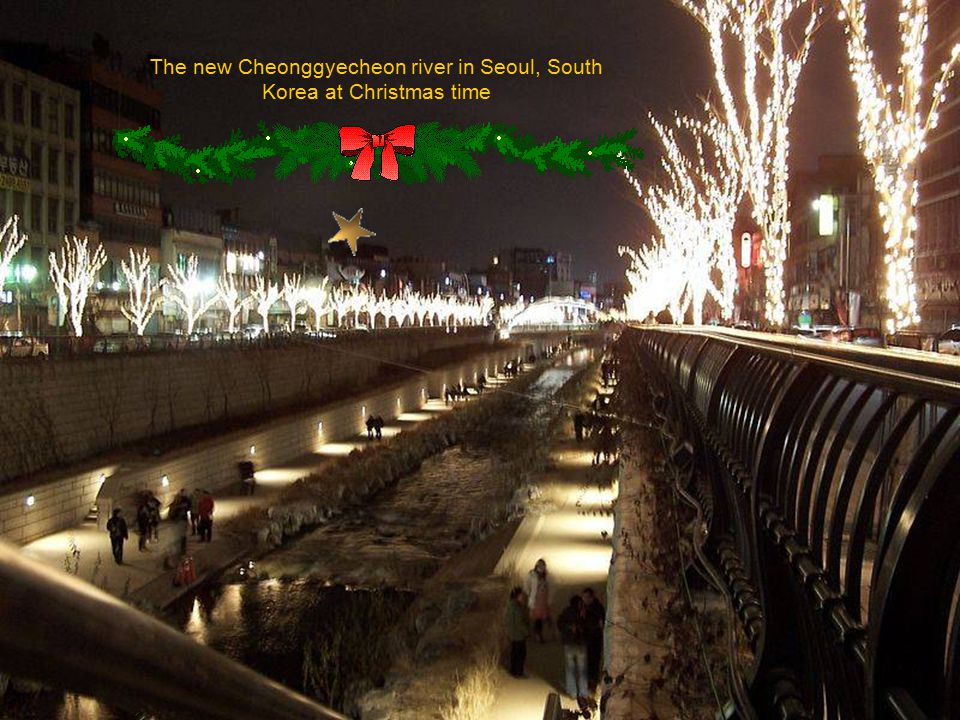 The new Cheonggyecheon river in Seoul, South Korea at Christmas time