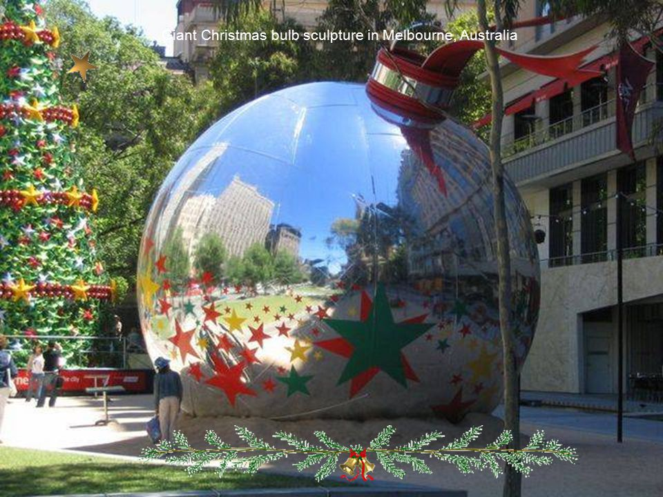 Giant Christmas bulb sculpture in Melbourne, Australia