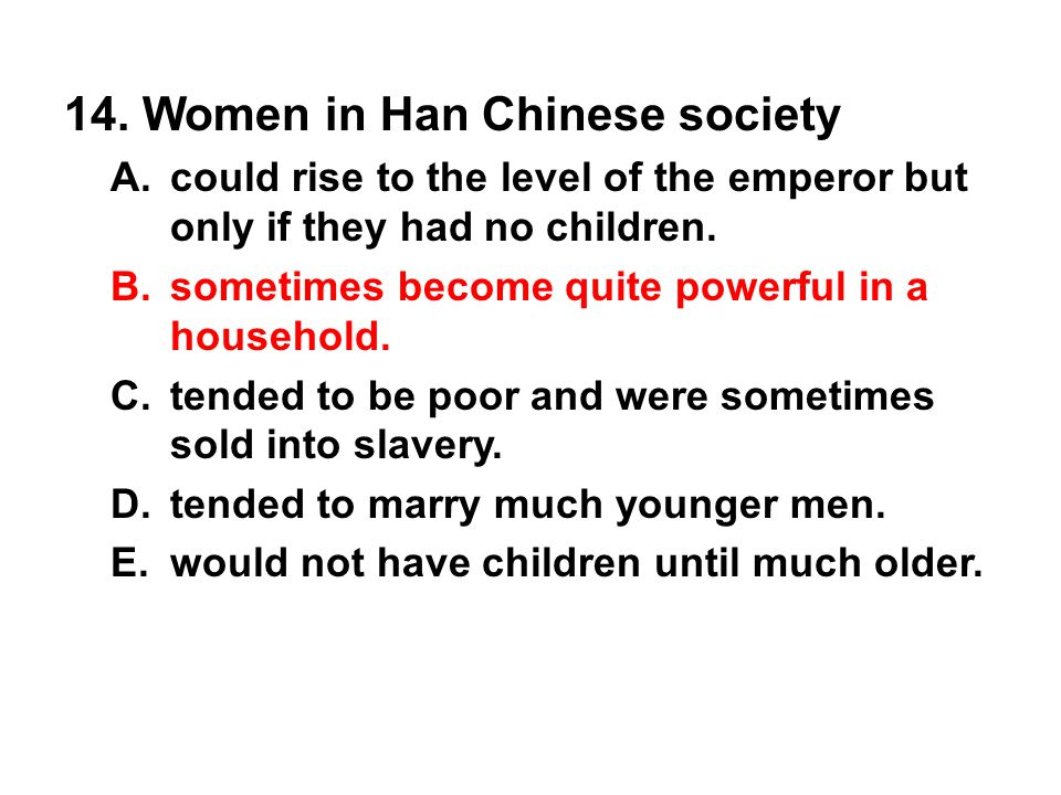 14. Women in Han Chinese society
