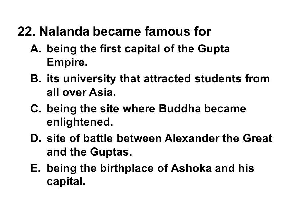 22. Nalanda became famous for