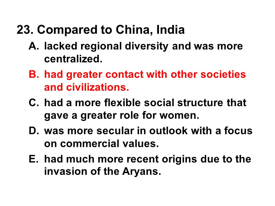 23. Compared to China, India