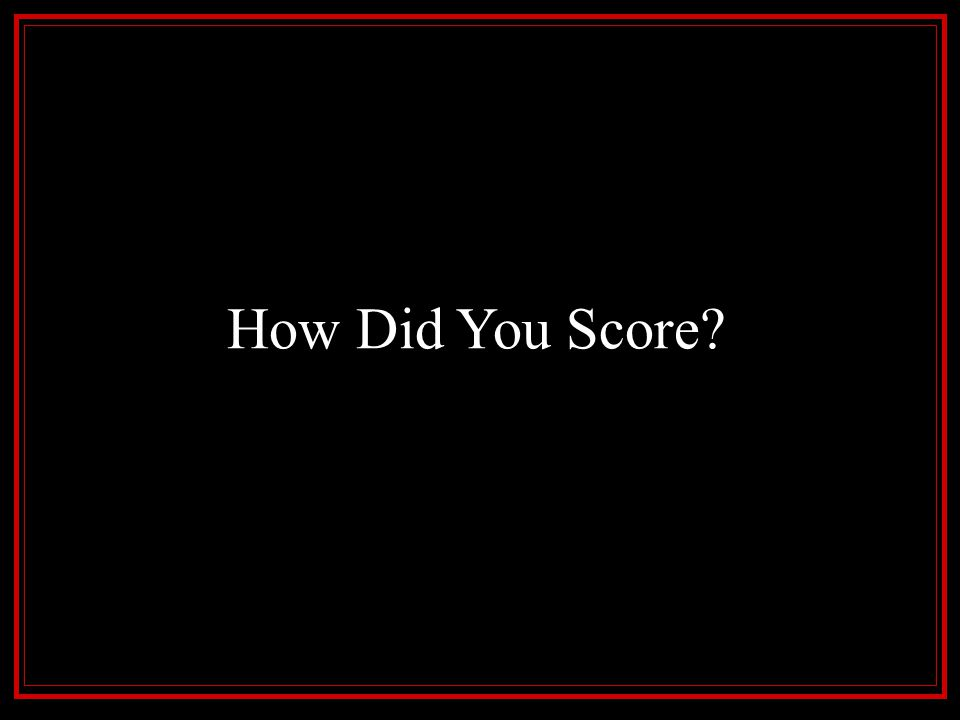 How Did You Score