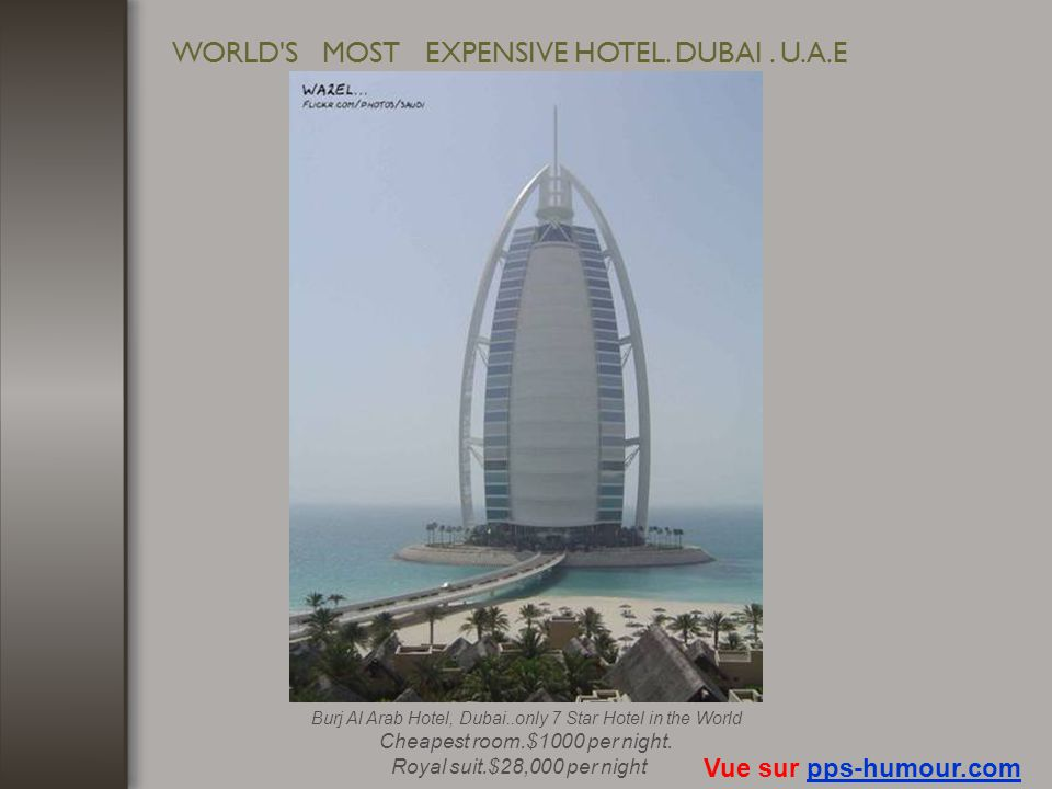 WORLD S MOST EXPENSIVE HOTEL. DUBAI . U.A.E
