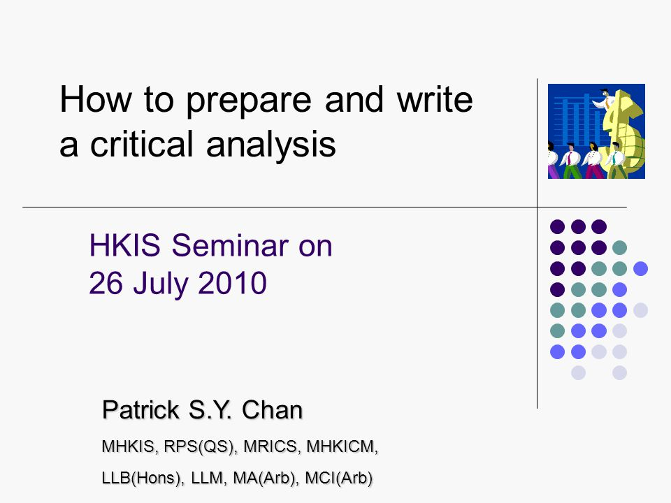 How to prepare and write a critical analysis