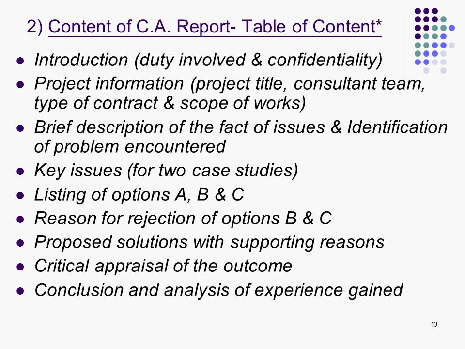 2) Content of C.A. Report- Table of Content*