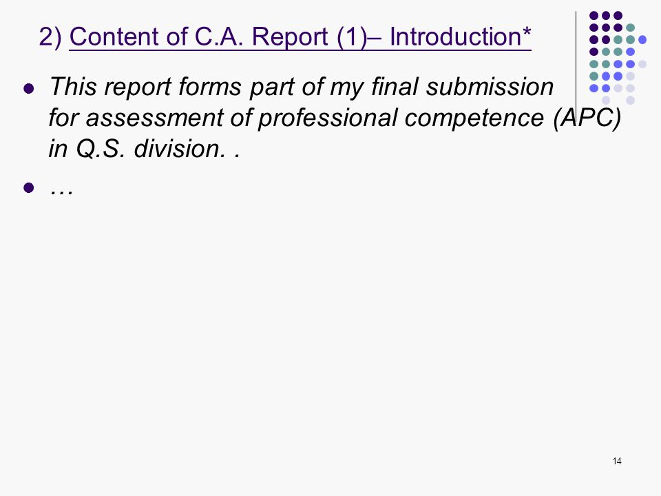 2) Content of C.A. Report (1)– Introduction*