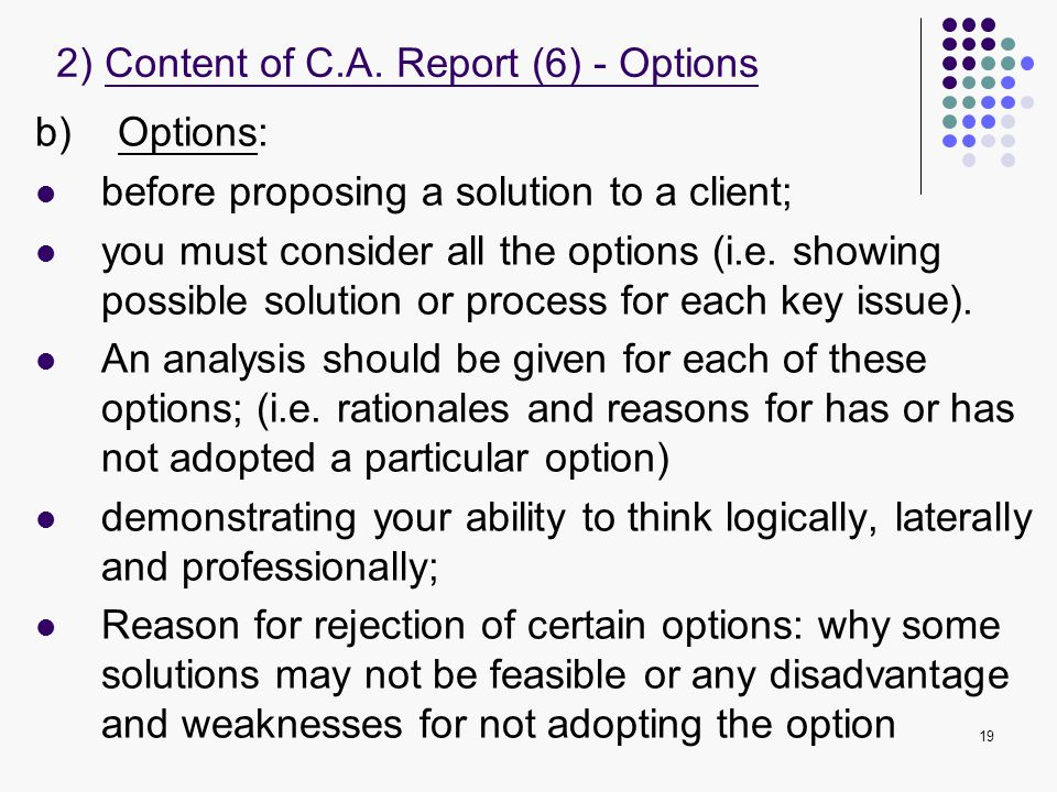 2) Content of C.A. Report (6) - Options