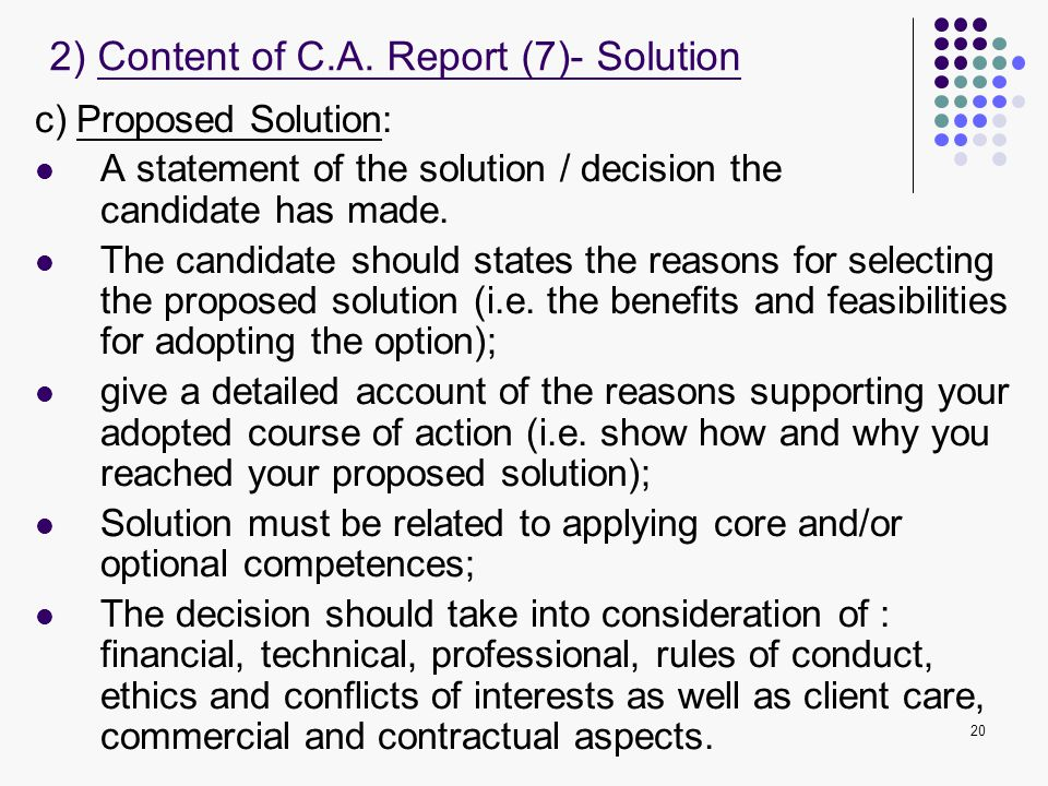 2) Content of C.A. Report (7)- Solution