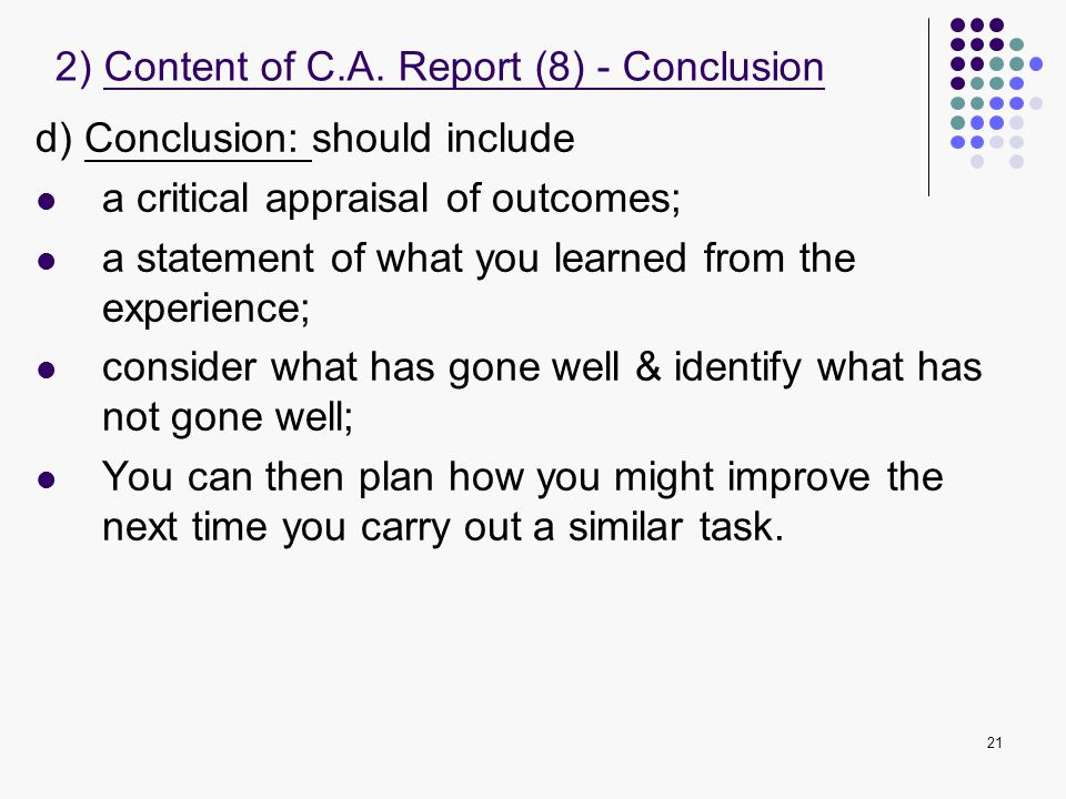 2) Content of C.A. Report (8) - Conclusion
