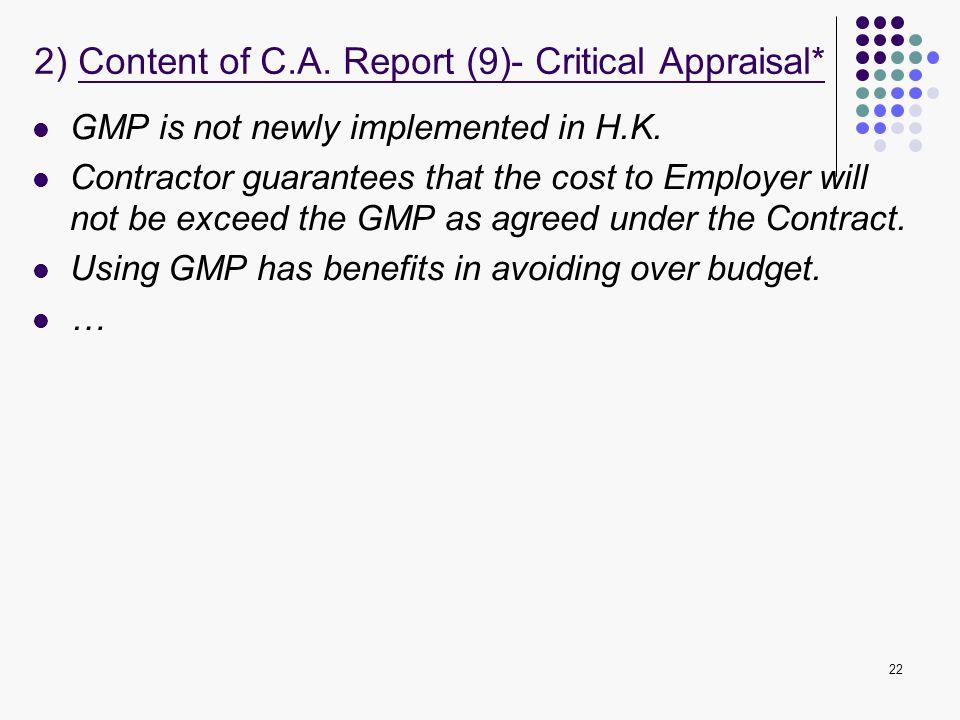 2) Content of C.A. Report (9)- Critical Appraisal*