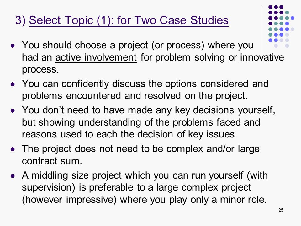 3) Select Topic (1): for Two Case Studies
