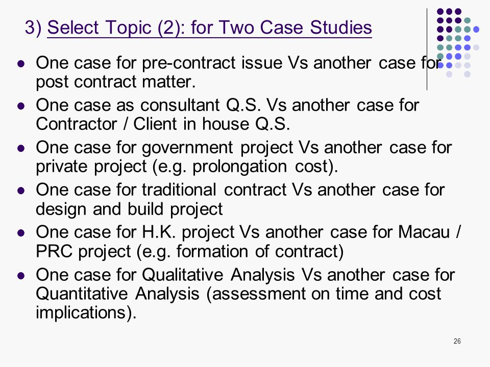 3) Select Topic (2): for Two Case Studies