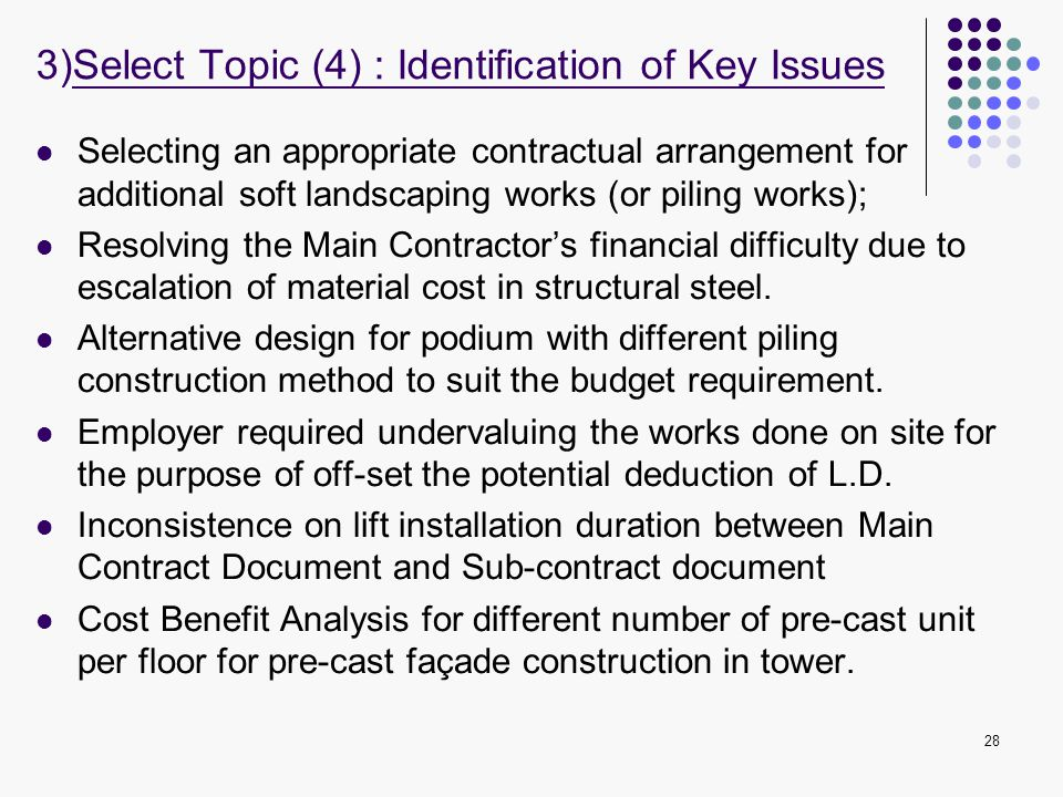 3)Select Topic (4) : Identification of Key Issues