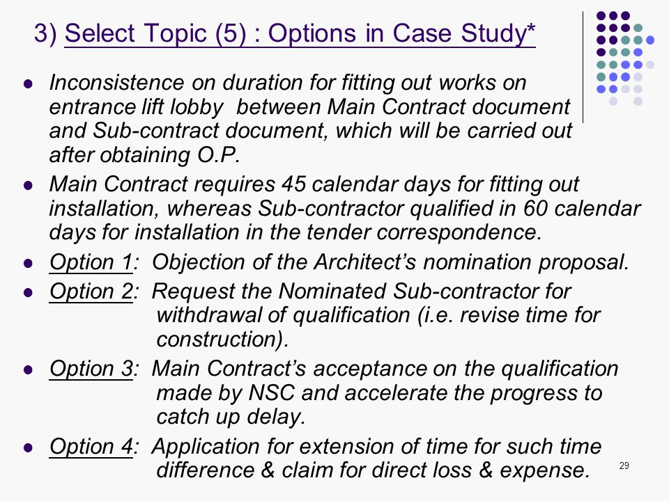 3) Select Topic (5) : Options in Case Study*
