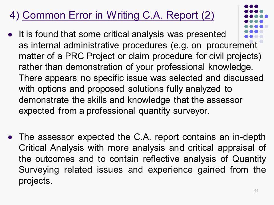 4) Common Error in Writing C.A. Report (2)