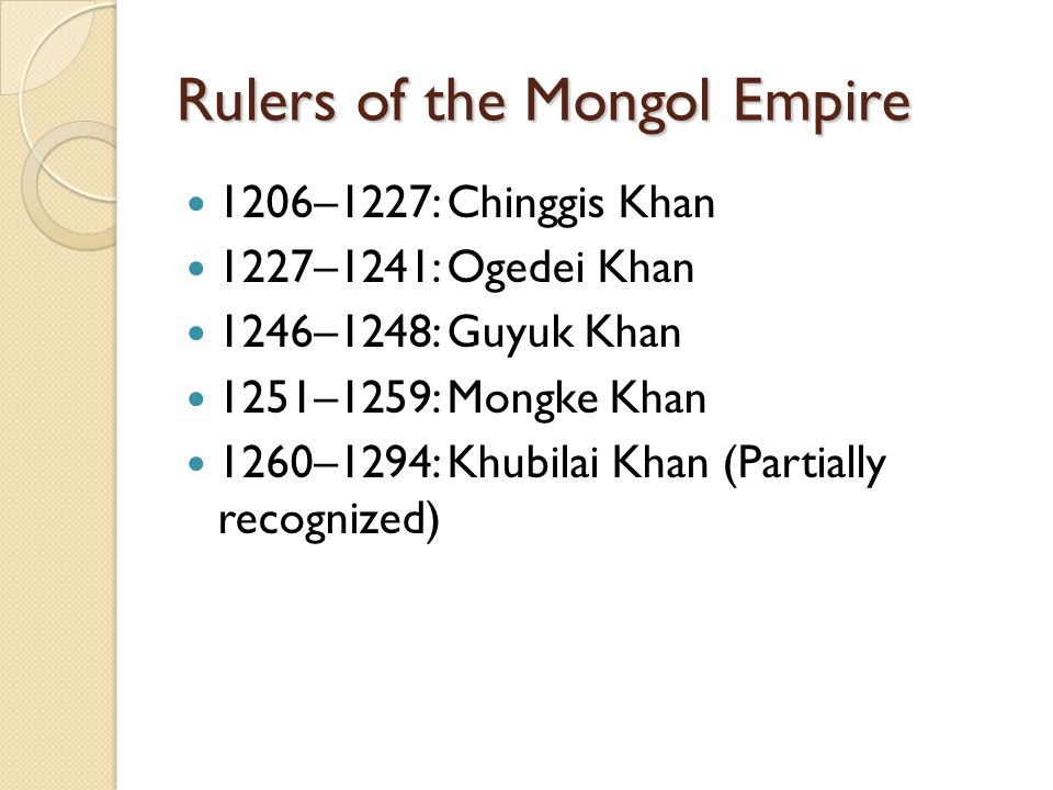 Rulers of the Mongol Empire