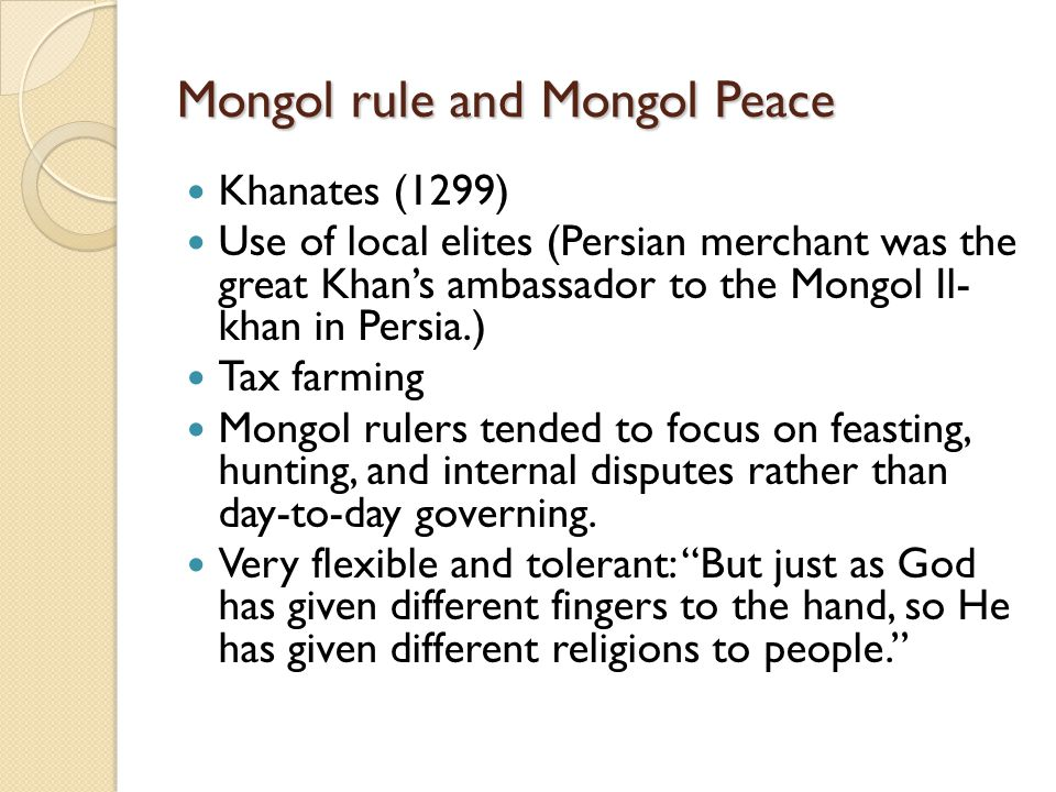 Mongol rule and Mongol Peace