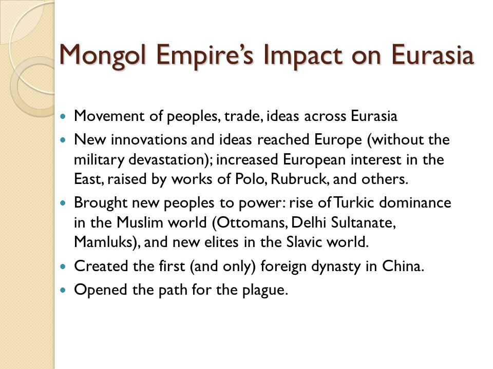Mongol Empire's Impact on Eurasia
